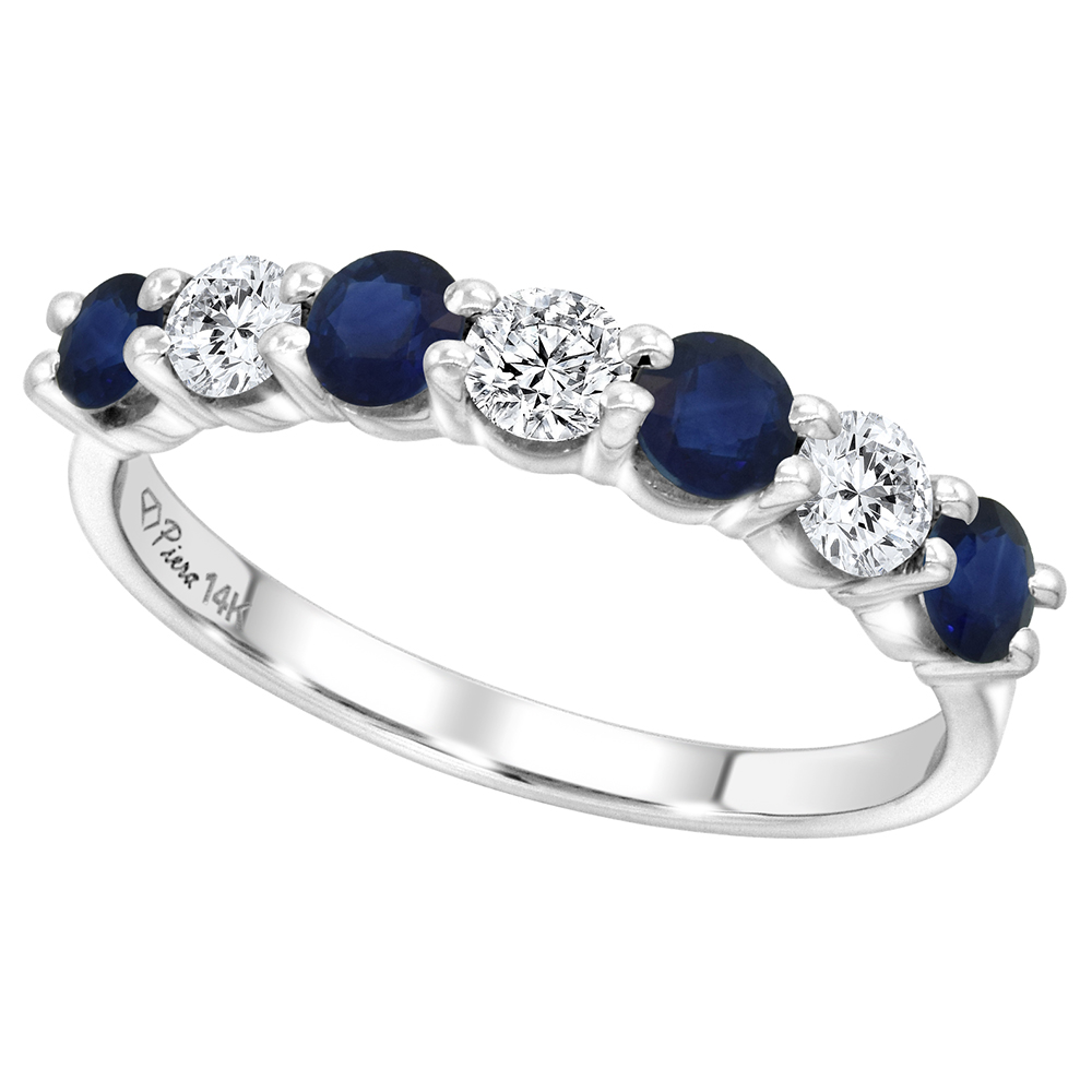 14k White Gold Ceylon Sapphire and Diamond 7-Stone Ring Round Brilliant cut 0.77cttw 4.1mm, size 5-10