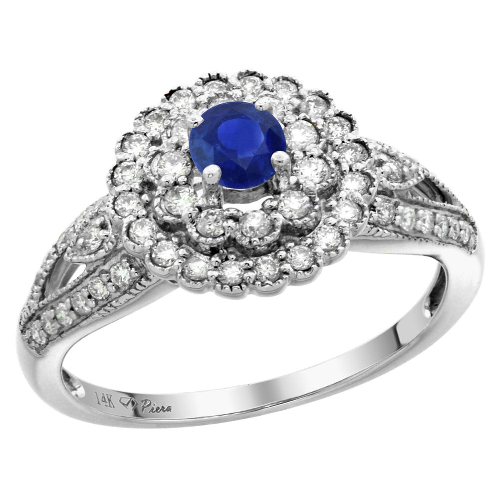 14k White Gold 0.46ct Diamond Halo Genuine Ceylon Sapphire Engagement Ring 4mm Round, size 5-10