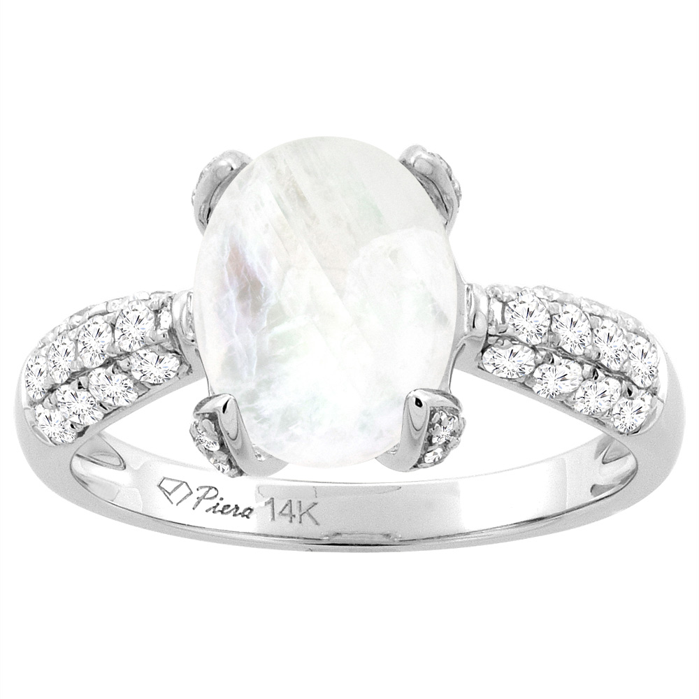 14K White Gold Natural Rainbow Moonstone Engagement Ring Oval 10x8 mm & Diamond Accents, sizes 5 - 10