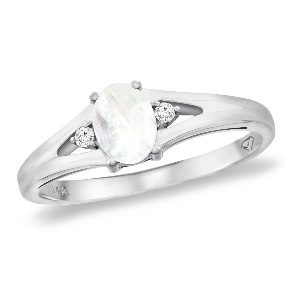 14K White Gold Diamond Natural Rainbow Moonstone Engagement Ring Oval 6x4 mm, sizes 5 -10