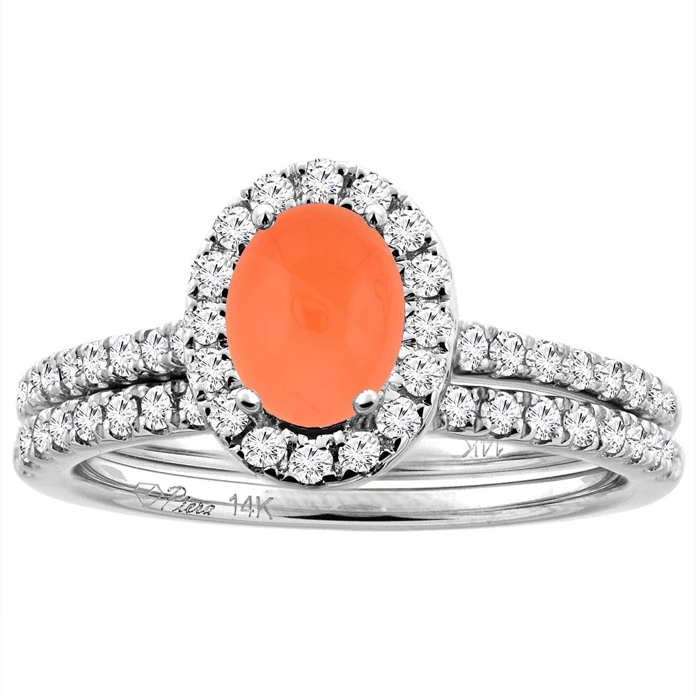 14K White/Yellow Gold Diamond Halo Natural Orange Moonstone 2pc Engagement Ring Set Oval 7x5 mm, sizes 5-10
