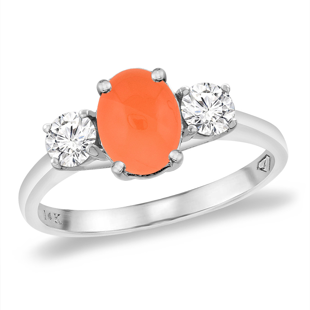 14K White Gold Natural Orange Moonstone & 2pc. Diamond Engagement Ring Oval 8x6 mm, sizes 5 -10