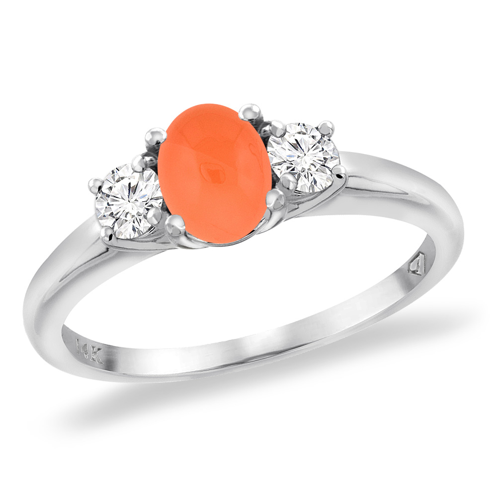14K White Gold Natural Orange Moonstone Engagement Ring Diamond Accents Oval 7x5 mm, sizes 5 -10