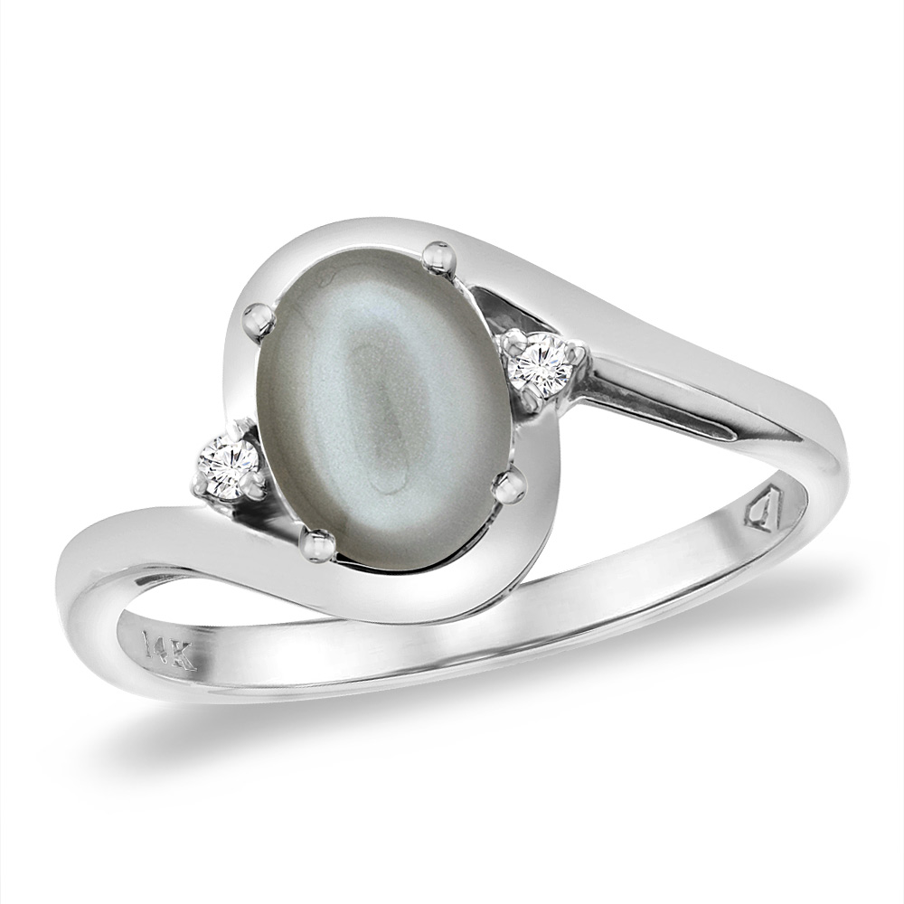 14K White Gold Diamond JewelryColor Gemstone RingsGray Moonstone