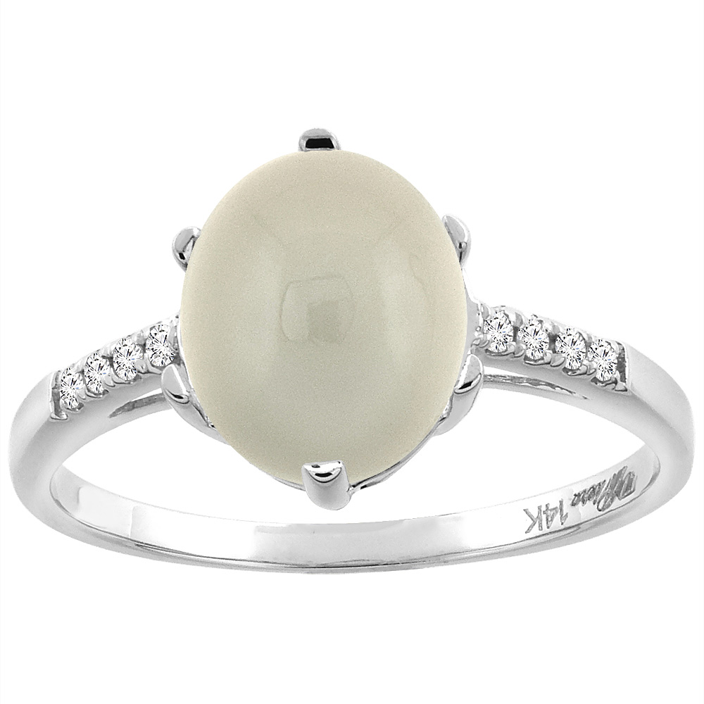 14K White Gold Natural Light Gray Moonstone & Diamond Ring Oval 10x8 mm, sizes 5-10