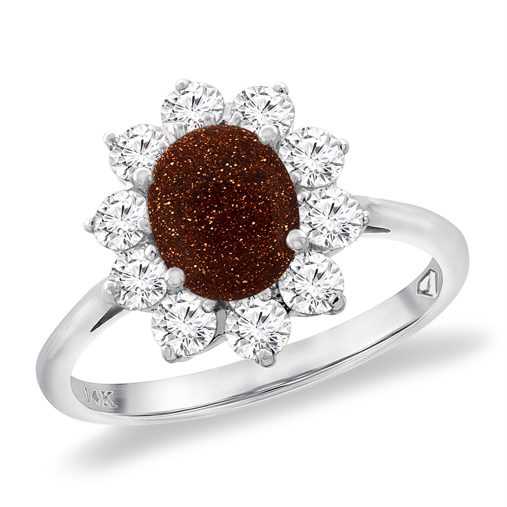 14K White Gold Diamond Natural Goldstone Engagement Ring Oval 8x6 mm, sizes 5 -10