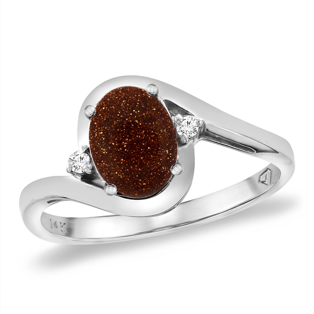 14K White Gold Diamond Natural Goldstone Bypass Engagement Ring Oval 8x6 mm, sizes 5 -10