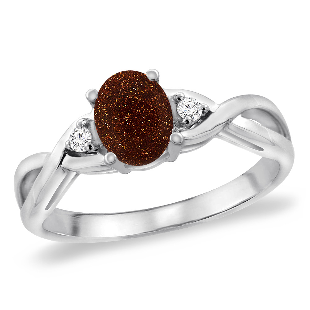 14K White Gold Diamond Natural Goldstone Infinity Engagement Ring Oval 7x5 mm, sizes 5 -10