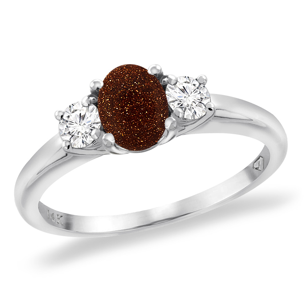 14K White Gold Natural Goldstone Engagement Ring Diamond Accents Oval 7x5 mm, sizes 5 -10