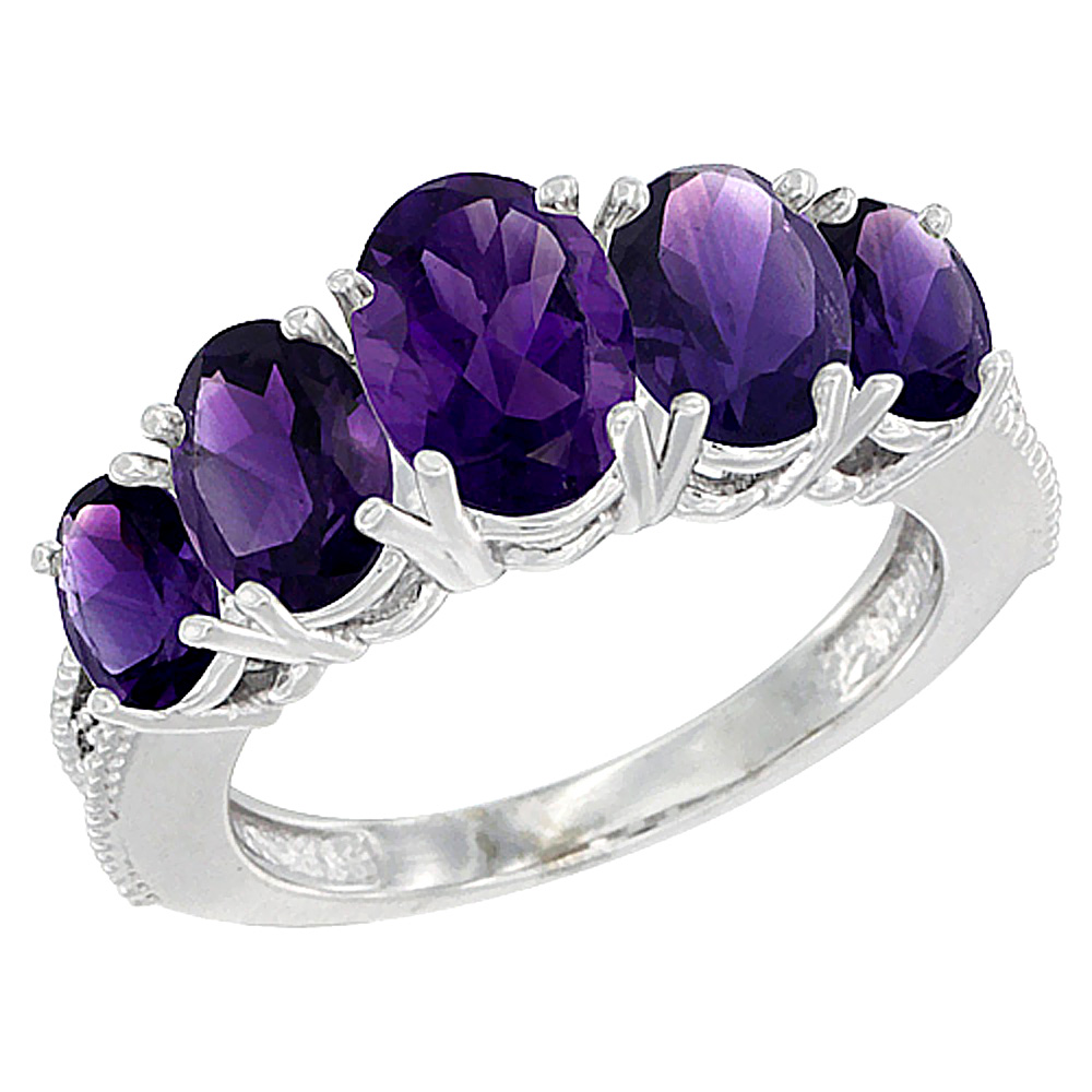 14K White Gold Diamond Natural Amethyst Ring 5-stone Oval 8x6 Ctr,7x5,6x4 sides, sizes 5 - 10