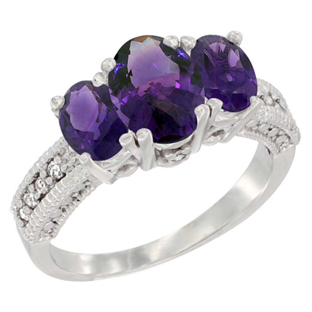 14K White Gold Diamond Natural Amethyst Ring Oval 3-stone, sizes 5 - 10