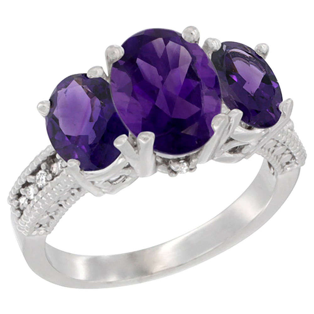 14K White Gold Diamond Natural Amethyst Ring 3-Stone Oval 8x6mm, sizes5-10