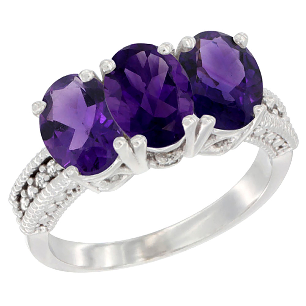 14K White Gold Natural Amethyst Ring 3-Stone 7x5 mm Oval Diamond Accent, sizes 5 - 10