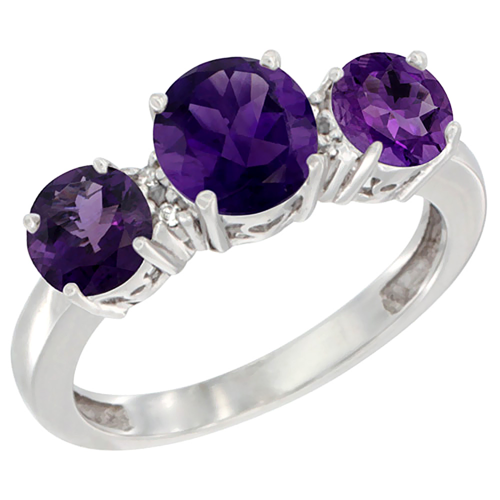 14K White Gold Round 3-Stone Natural Amethyst Ring Diamond Accent, sizes 5 - 10