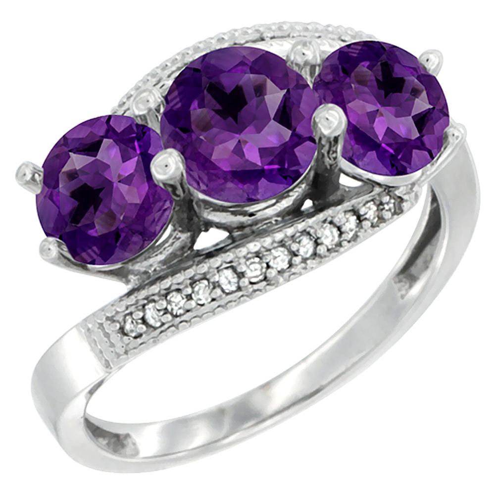 14K White Gold Natural Amethyst 3 stone Ring Round 6mm Diamond Accent, sizes 5 - 10