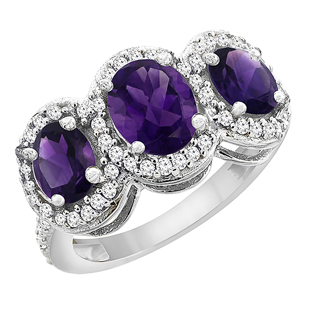 14K White Gold Natural Amethyst 3-Stone Ring Oval Diamond Accent, sizes 5 - 10