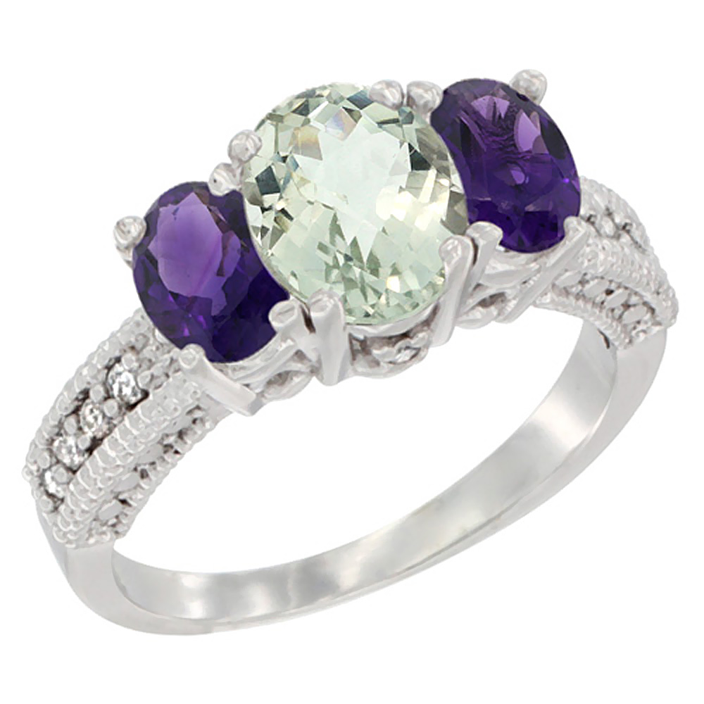 14K White Gold Diamond Natural Green Amethyst Ring Oval 3-stone with Amethyst, sizes 5 - 10