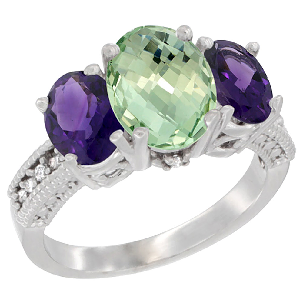 10K White Gold Natural Green Amethyst Ring Ladies 3-Stone 8x6 Oval with Amethyst Sides Diamond Accent, sizes 5 - 10