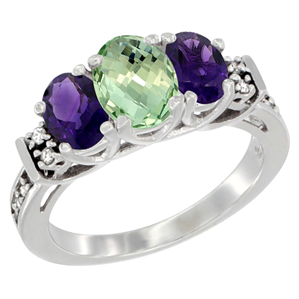10K White Gold Natural Purple & Green Amethysts Ring 3-Stone Oval Diamond Accent, sizes 5-10