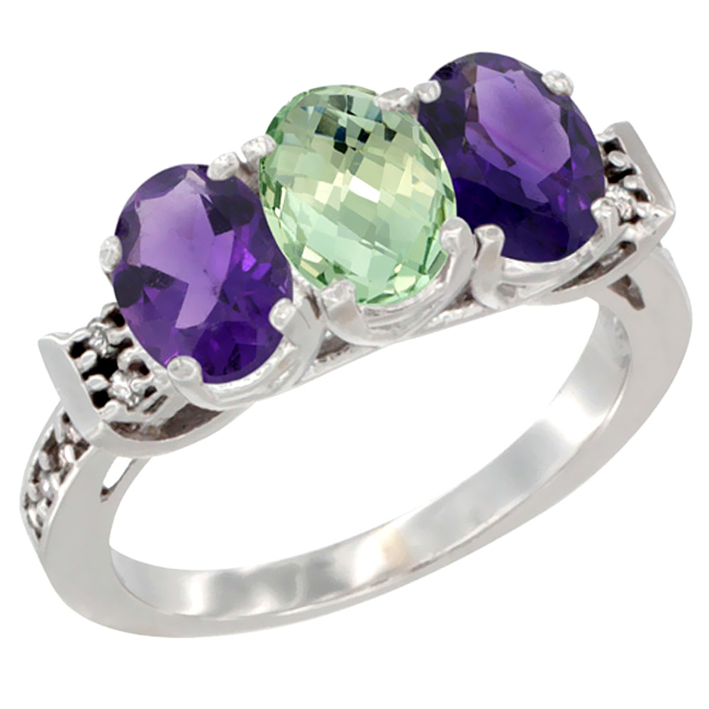 14K White Gold Natural Purple & Green Amethysts Ring 3-Stone 7x5 mm Oval Diamond Accent, sizes 5 - 10