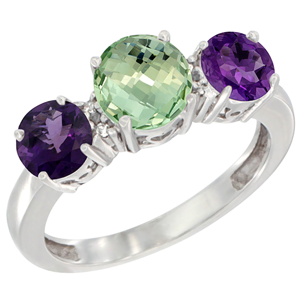 14K White Gold Round 3-Stone Natural Green Amethyst Ring & Amethyst Sides Diamond Accent, sizes 5 - 10