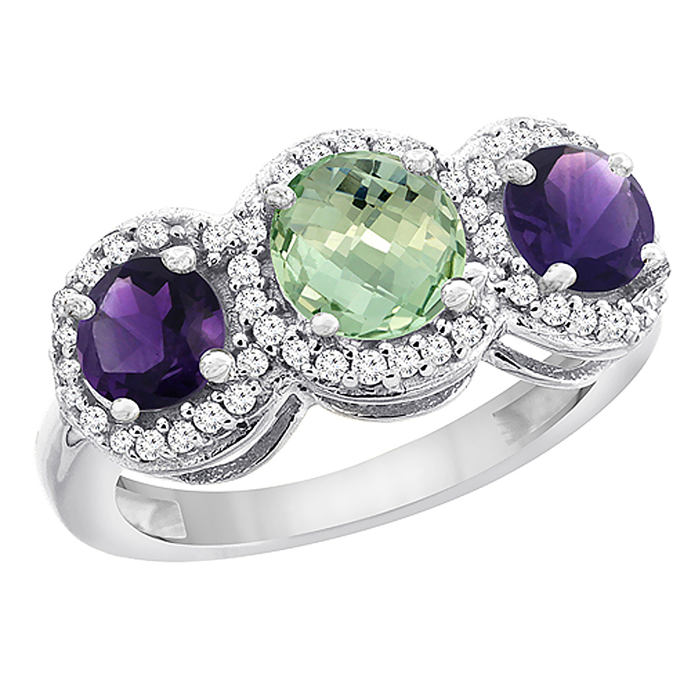 10K White Gold Natural Green Amethyst & Amethyst Sides Round 3-stone Ring Diamond Accents, sizes 5 - 10
