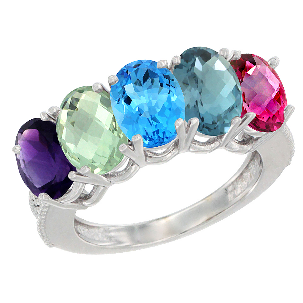 14K White Gold Natural Multi-colored Gemstone 5-Stone Mother's Ring Oval 7x5mm with Diamond Accents, sizes 5 - 10