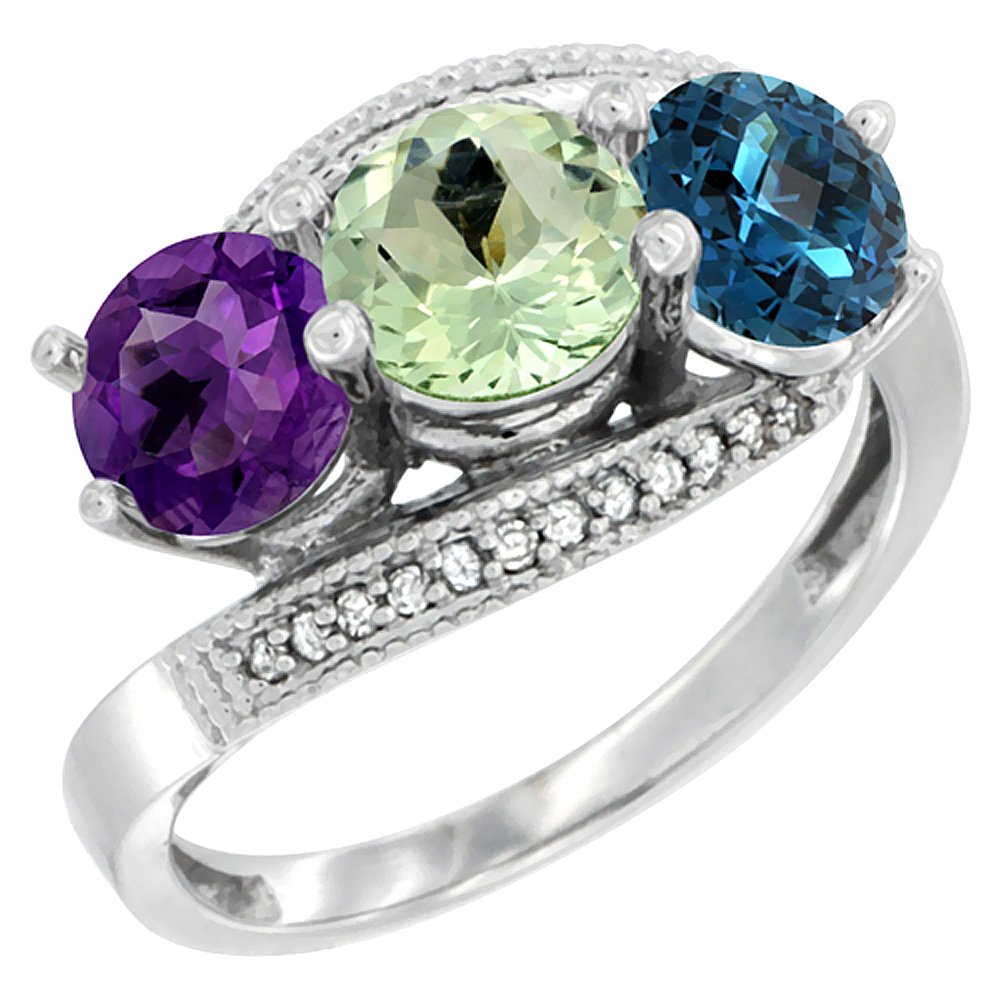10K White Gold Natural Amethyst, Green Amethyst & London Blue Topaz 3 stone Ring Round 6mm Diamond Accent, sizes 5 - 10
