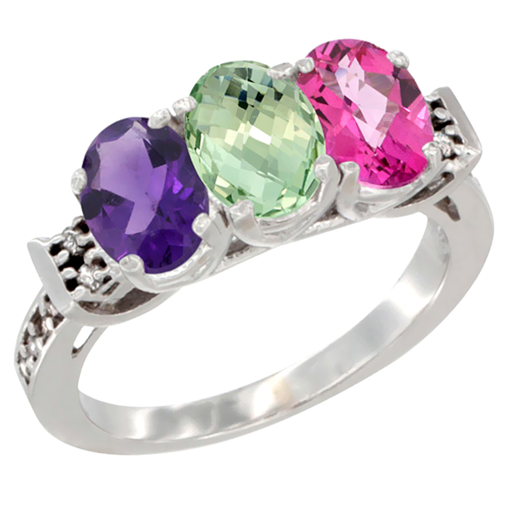 14K White Gold Natural Amethyst, Green Amethyst & Pink Topaz Ring 3-Stone 7x5 mm Oval Diamond Accent, sizes 5 - 10