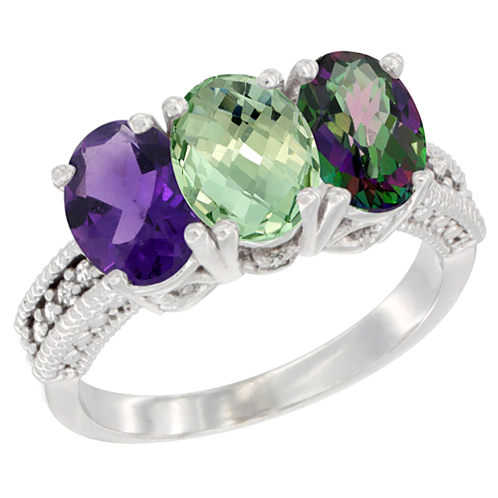 10K White Gold Natural Amethyst, Green Amethyst & Mystic Topaz Ring 3-Stone Oval 7x5 mm Diamond Accent, sizes 5 - 10
