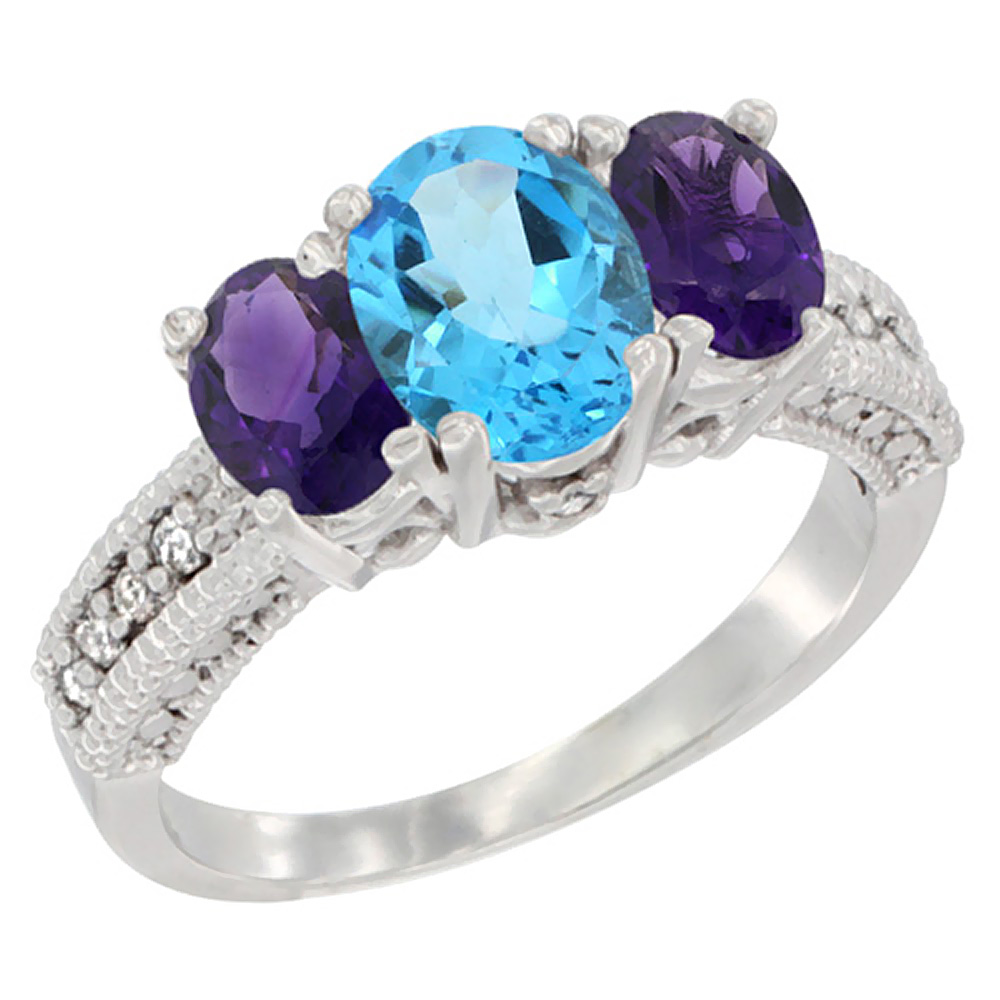 10K White Gold Diamond Natural Swiss Blue Topaz Ring Oval 3-stone with Amethyst, sizes 5 - 10