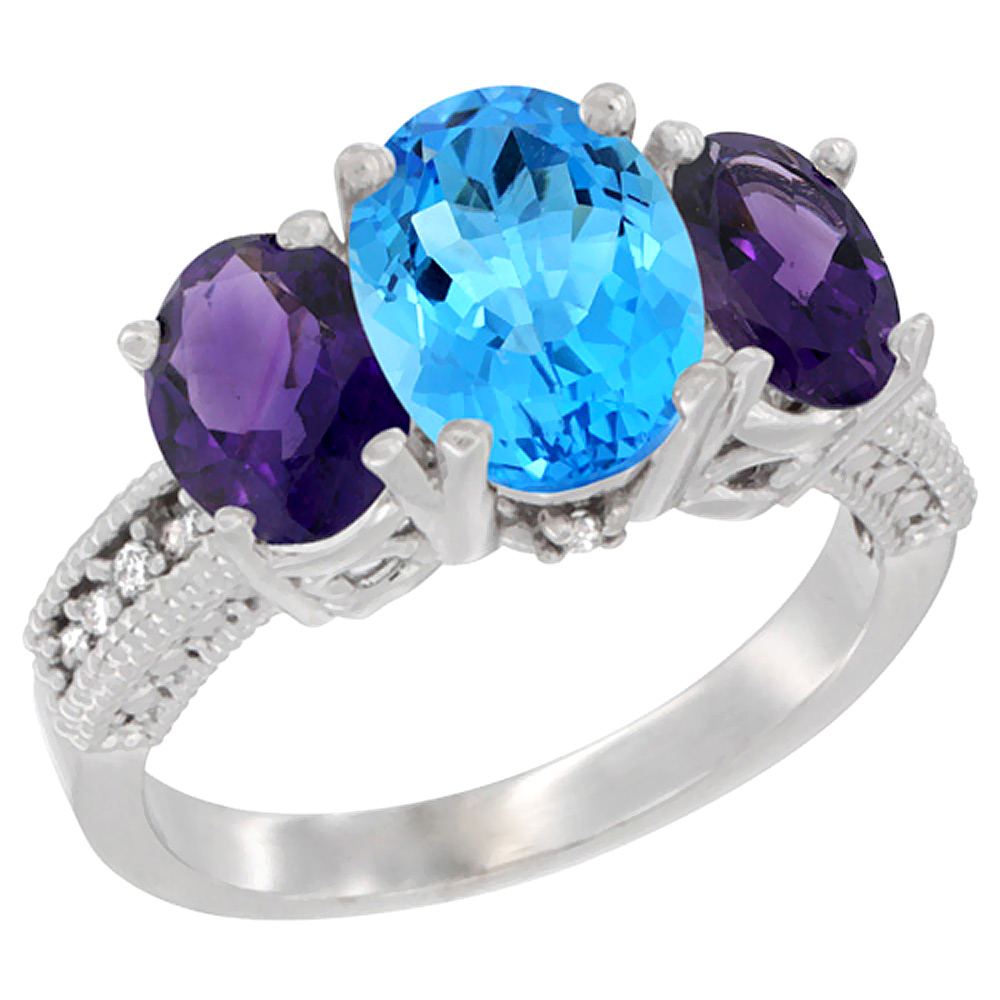 14K White Gold Diamond Natural Swiss Blue Topaz Ring 3-Stone Oval 8x6mm with Amethyst, sizes5-10