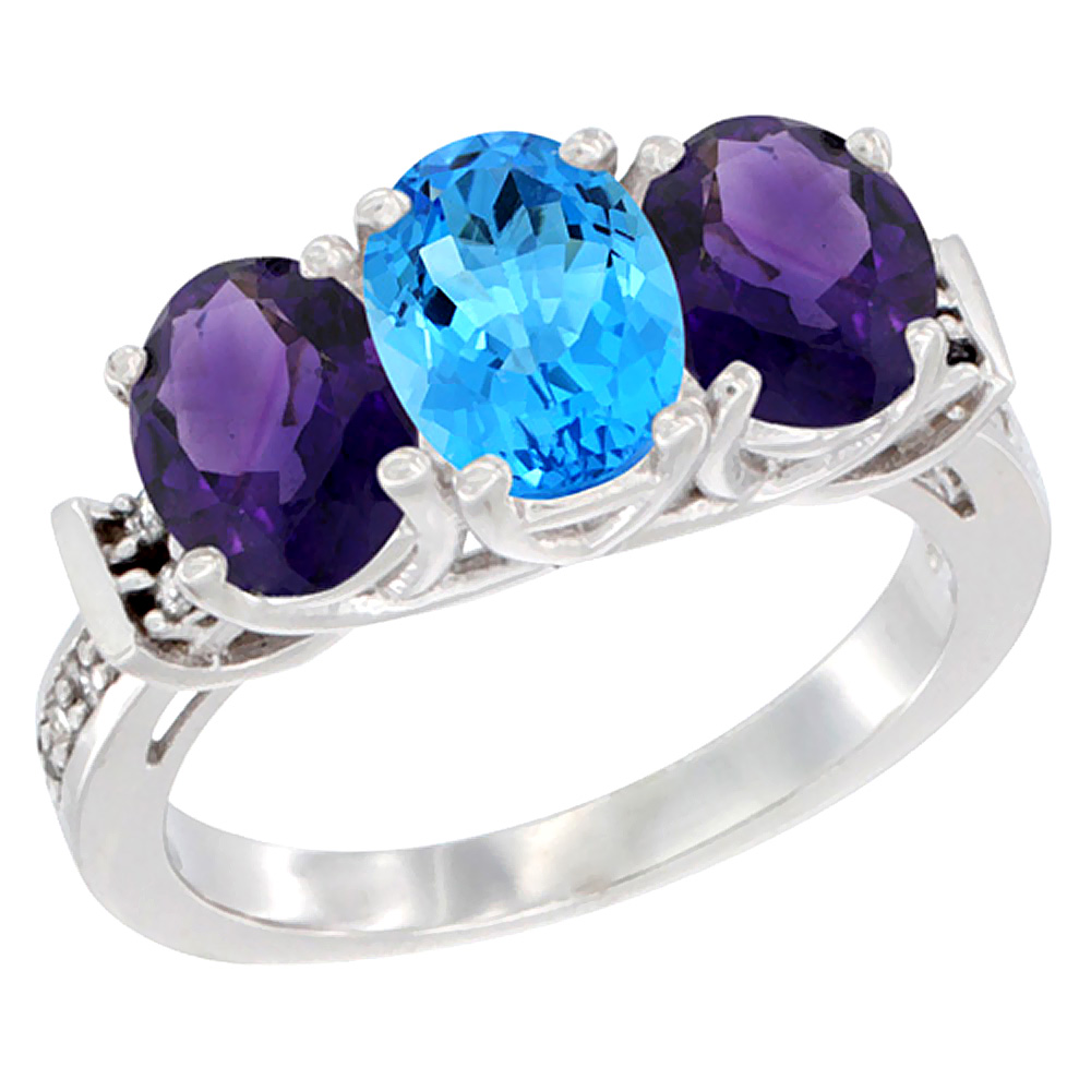 10K White Gold Natural Swiss Blue Topaz & Amethyst Sides Ring 3-Stone Oval Diamond Accent, sizes 5 - 10