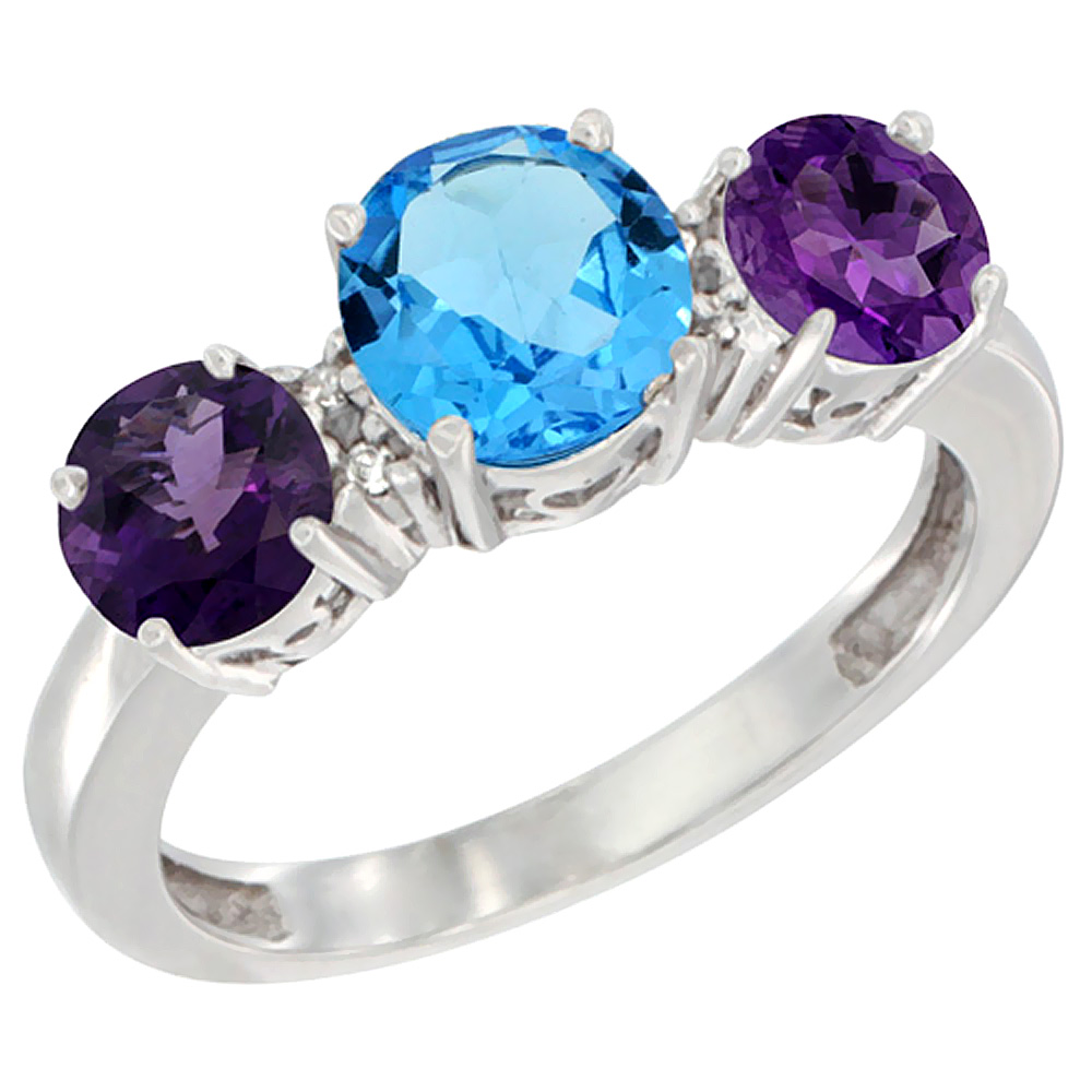 10K White Gold Round 3-Stone Natural Swiss Blue Topaz Ring & Amethyst Sides Diamond Accent, sizes 5 - 10