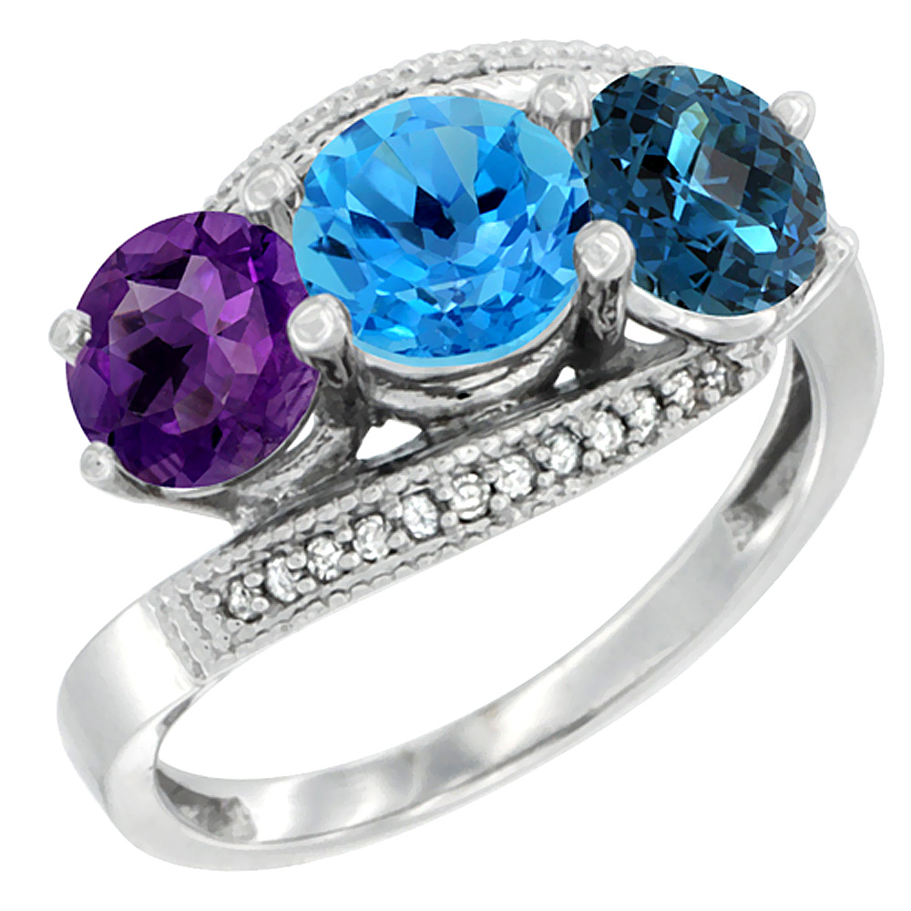 10K White Gold Natural Amethyst, Swiss & London Blue Topaz 3 stone Ring Round 6mm Diamond Accent, sizes 5 - 10