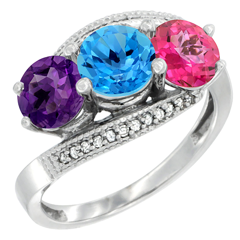 14K White Gold Natural Amethyst, Swiss Blue & Pink Topaz 3 stone Ring Round 6mm Diamond Accent, sizes 5 - 10