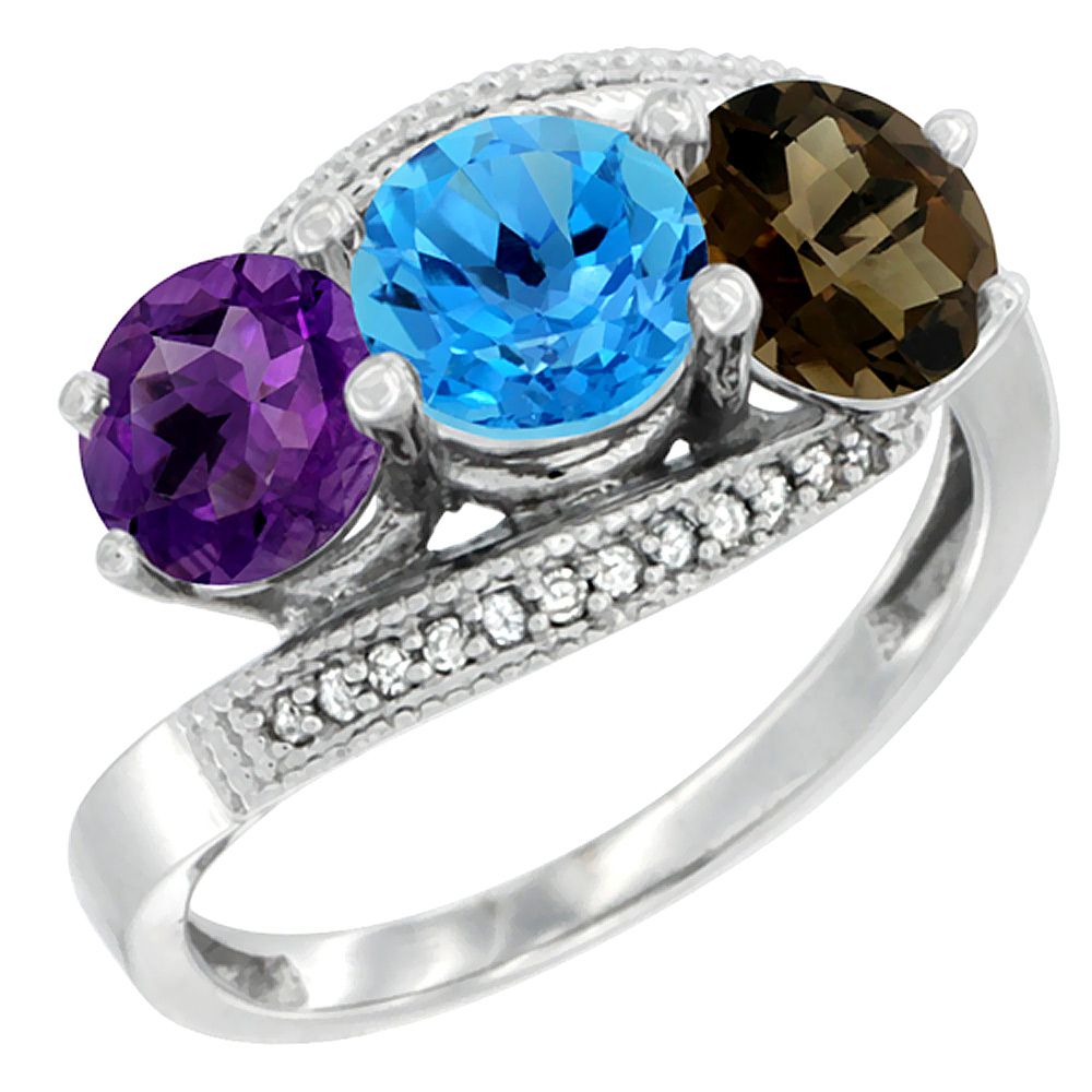 14K White Gold Natural Amethyst, Swiss Blue & Smoky Topaz 3 stone Ring Round 6mm Diamond Accent, sizes 5 - 10