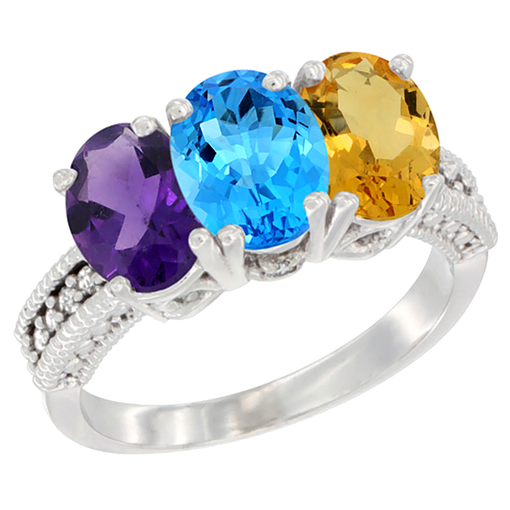 14K White Gold Natural Amethyst, Swiss Blue Topaz & Citrine Ring 3-Stone 7x5 mm Oval Diamond Accent, sizes 5 - 10