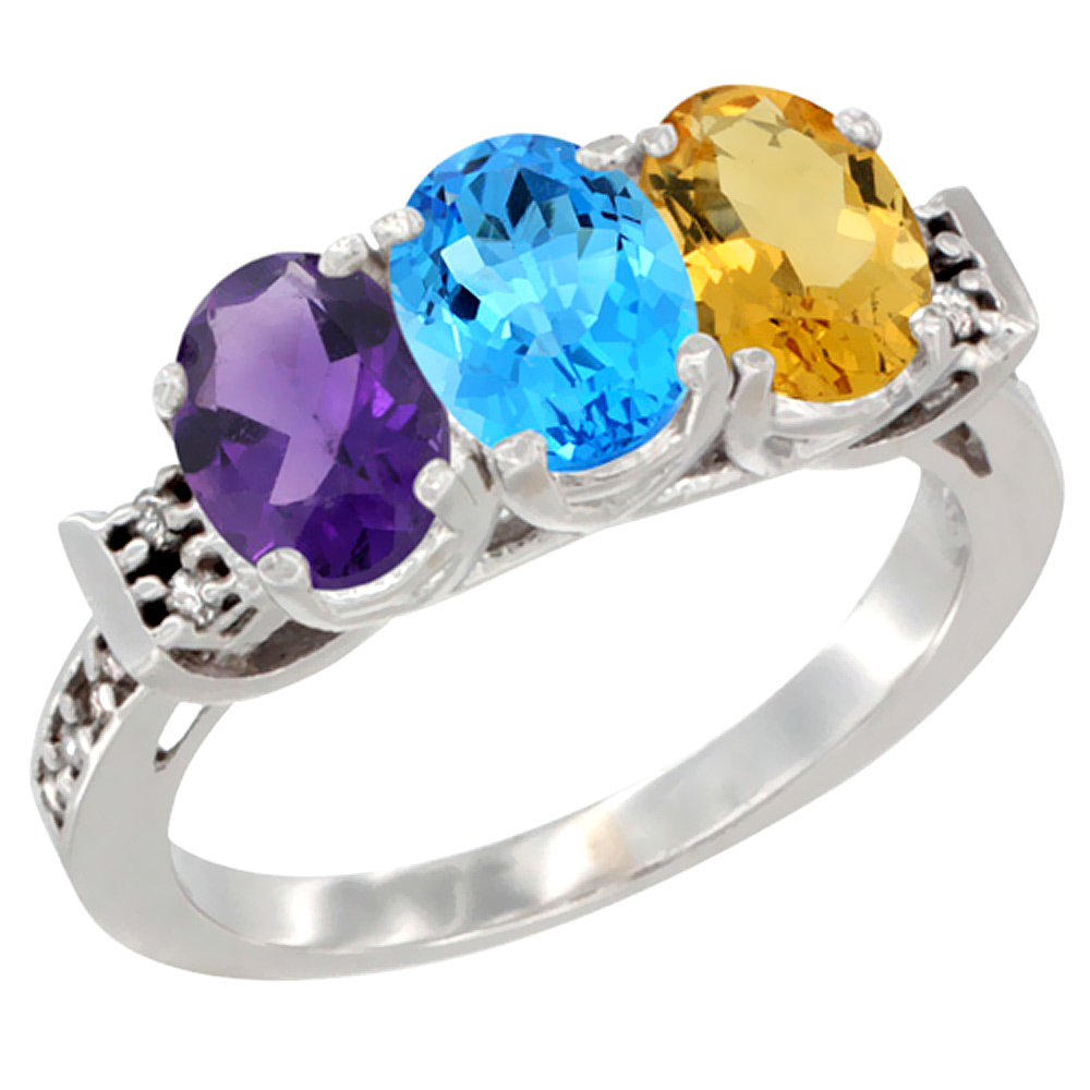 10K White Gold Natural Amethyst, Swiss Blue Topaz & Citrine Ring 3-Stone Oval 7x5 mm Diamond Accent, sizes 5 - 10