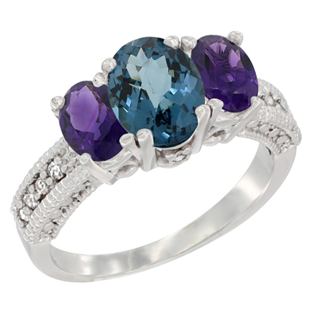 10K White Gold Diamond Natural London Blue Topaz Ring Oval 3-stone with Amethyst, sizes 5 - 10