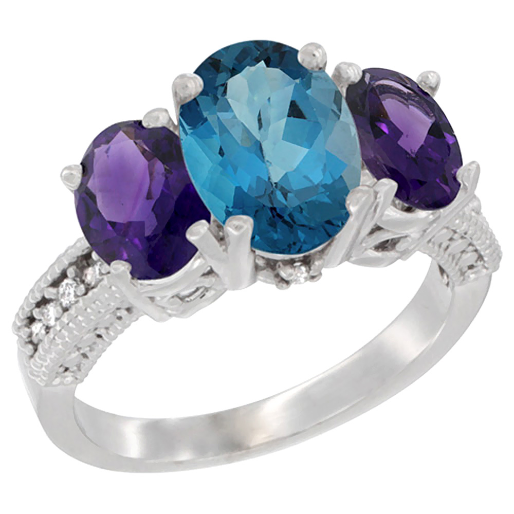 14K White Gold Natural London Blue Topaz Ring Ladies 3-Stone 8x6 Oval with Amethyst Sides Diamond Accent, sizes 5 - 10