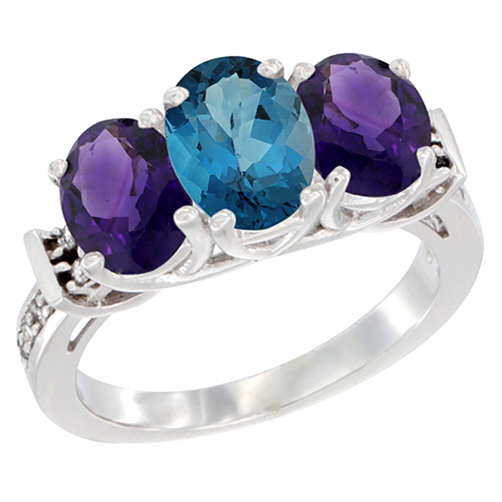 14K White Gold Natural London Blue Topaz & Amethyst Sides Ring 3-Stone Oval Diamond Accent, sizes 5 - 10
