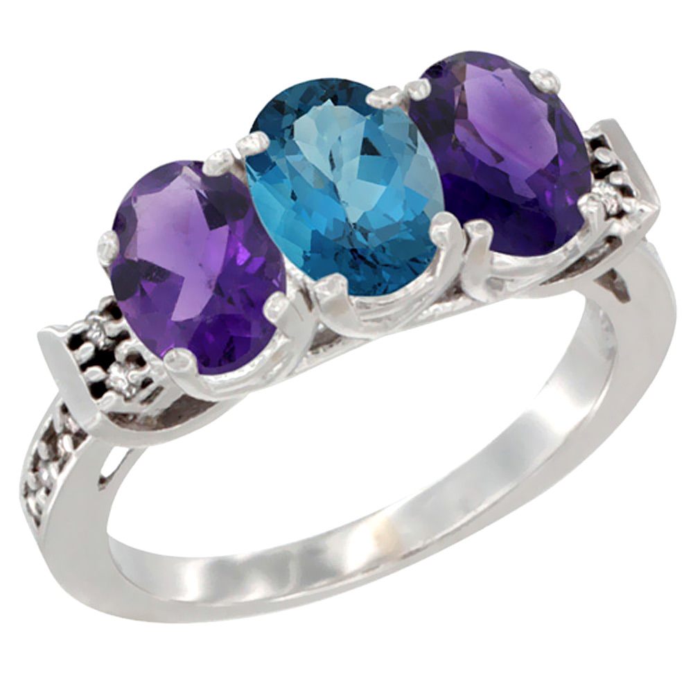 14K White Gold Natural London Blue Topaz & Amethyst Sides Ring 3-Stone 7x5 mm Oval Diamond Accent, sizes 5 - 10