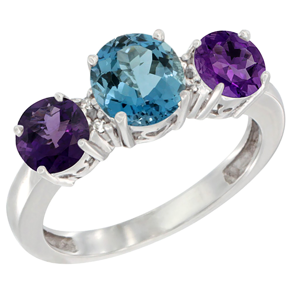 14K White Gold Round 3-Stone Natural London Blue Topaz Ring & Amethyst Sides Diamond Accent, sizes 5 - 10