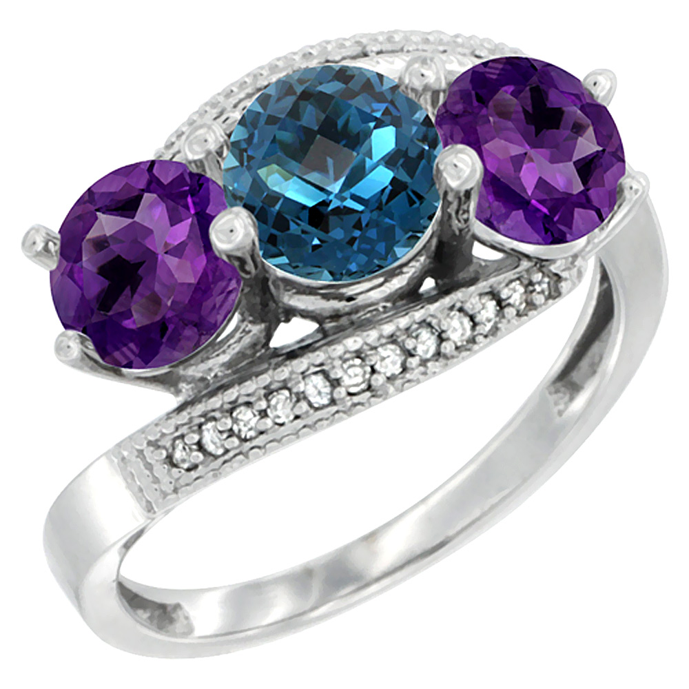 14K White Gold Natural London Blue Topaz & Amethyst Sides 3 stone Ring Round 6mm Diamond Accent, sizes 5 - 10