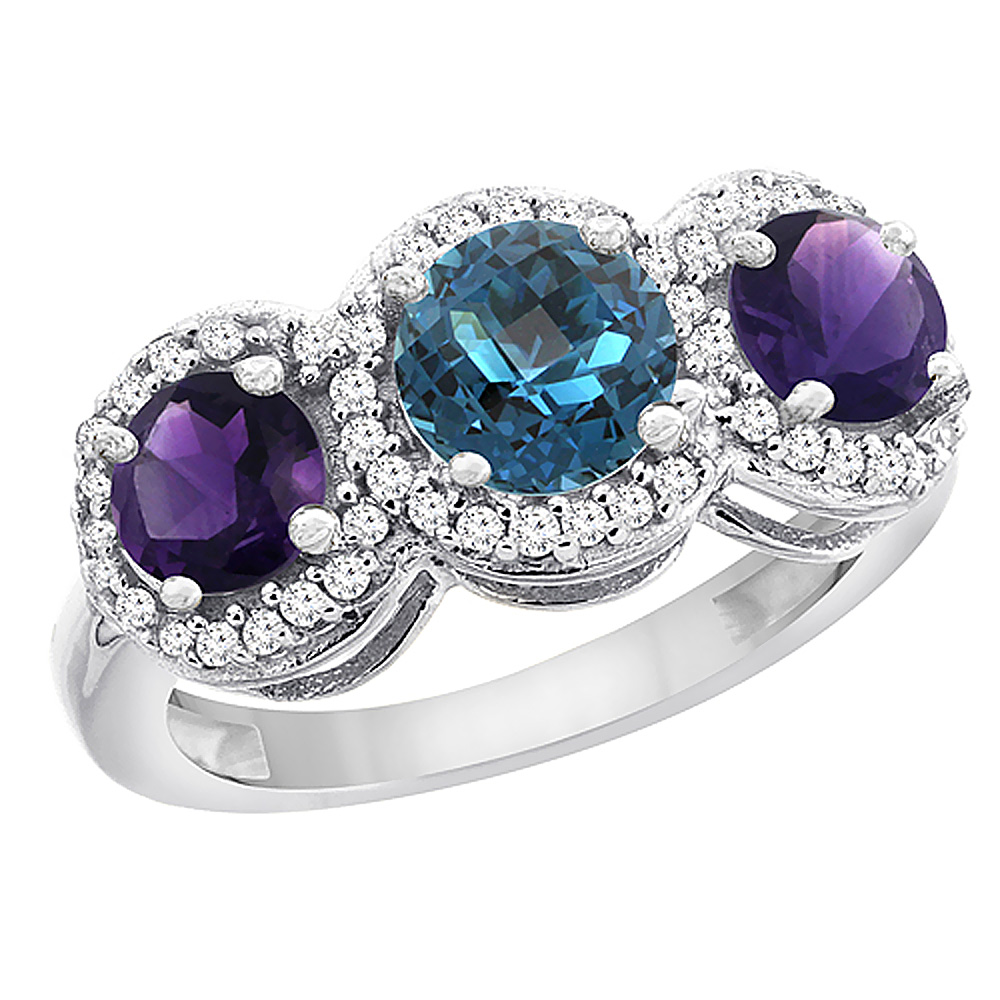 10K White Gold Natural London Blue Topaz & Amethyst Sides Round 3-stone Ring Diamond Accents, sizes 5 - 10