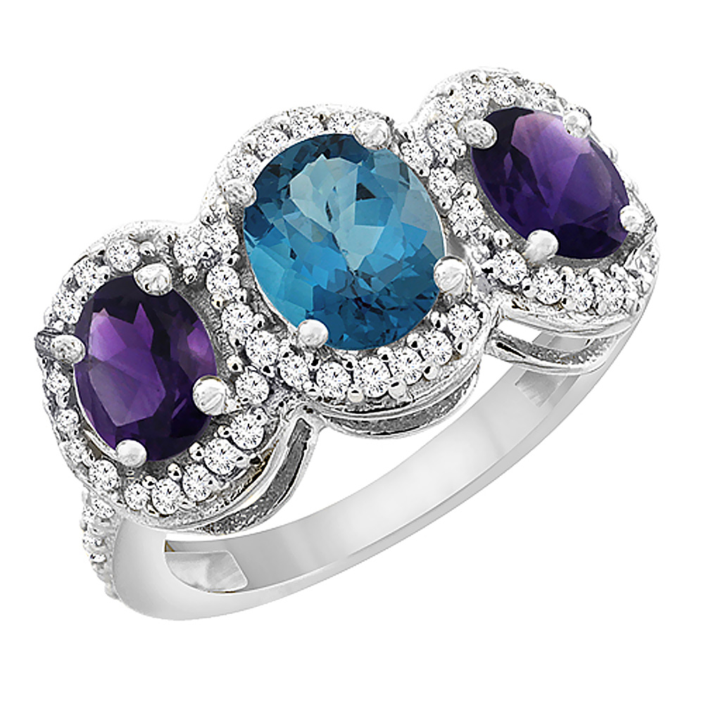 10K White Gold Natural London Blue Topaz & Amethyst 3-Stone Ring Oval Diamond Accent, sizes 5 - 10