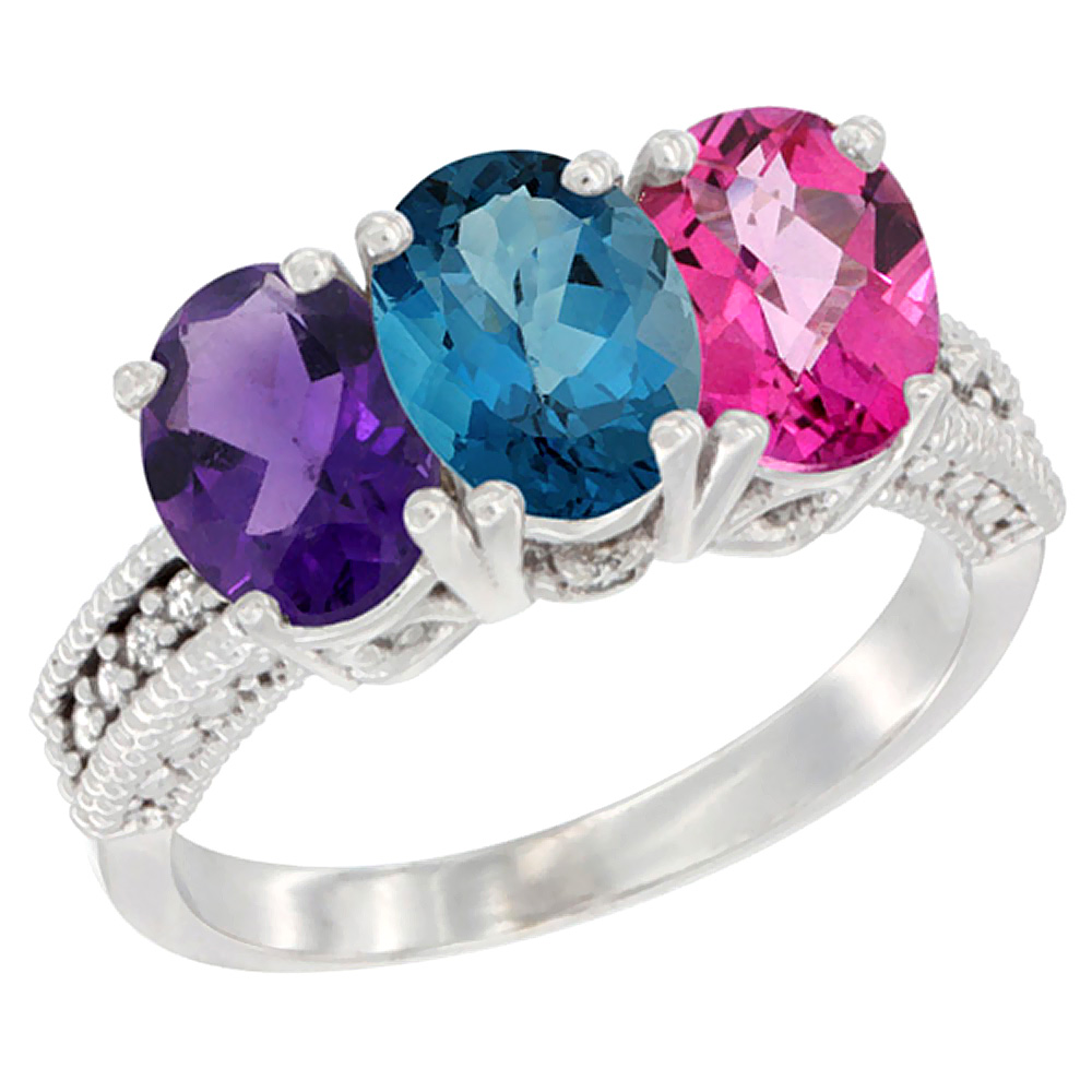 10K White Gold Natural Amethyst, London Blue Topaz & Pink Topaz Ring 3-Stone Oval 7x5 mm Diamond Accent, sizes 5 - 10
