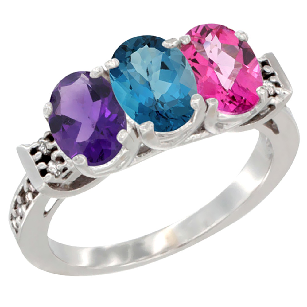 14K White Gold Natural Amethyst, London Blue Topaz & Pink Topaz Ring 3-Stone 7x5 mm Oval Diamond Accent, sizes 5 - 10