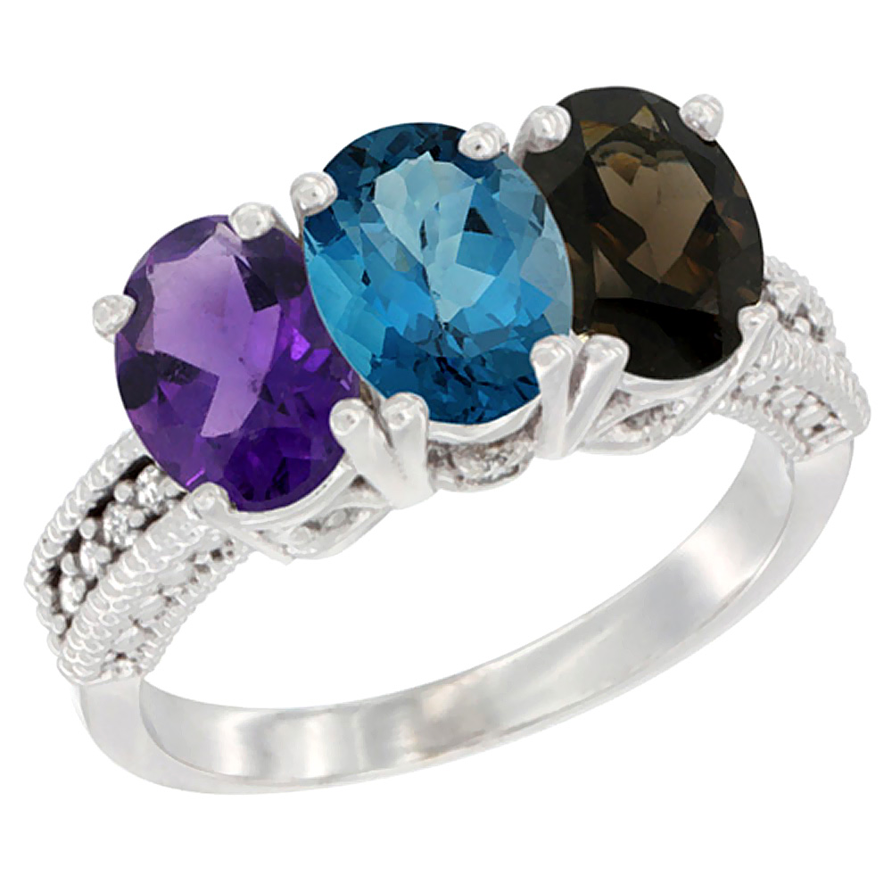 14K White Gold Natural Amethyst, London Blue Topaz & Smoky Topaz Ring 3-Stone 7x5 mm Oval Diamond Accent, sizes 5 - 10